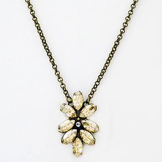 Sorrelli Riverstone Collection. Golden Shadow crystals create a desert flower pendant necklace with the perfect Southwest vibe. Everyday sparkle, bridesmaid gift.