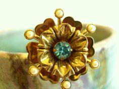 Vintage Rhinestone Brooch  Coro Flower by vintagebytheseashore, $10.00