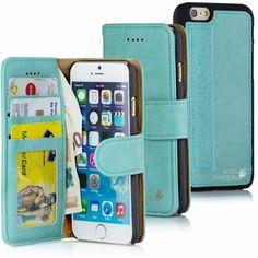 Golden Phoenix iPhone 6 Handyhülle Royal Wallet-Case Wildleder türkis