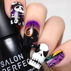 night before Christmas | halloween nail art design | coffin | gel polish | skull | grave | skeleton | jack | acrylic
