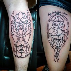 Stained Glass Beauty and the Beast tattoo inspiration for Disney lovers