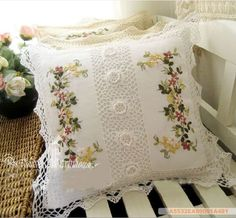 Handmade Ribbon Embroidery Flowers Cushion Cover Ecru on PopScreen