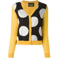 Boutique Moschino polka dot panel cardigan ($525) ❤ liked on Polyvore
