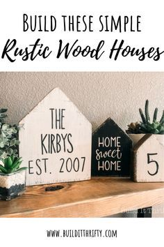 Build these simple rustic wood houses entirely from scrap lumber, a quick and easy wood craft! Build these simple rustic wood houses entirely from scrap lumber, a quick and easy wood craft! Scrap Wood Crafts, Wood Block Crafts, Scrap Wood Projects, Wooden Crafts, Wood Blocks, Woodworking Projects, Diy Projects, Wood Crafts That Sell, Easy Small Wood Projects