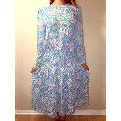 Vintage maxi dress Vintage maxi dress with long sleeves. Multi blue, green and white colors. Perfect for this spring/summer Vintage Dresses Maxi