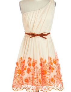 Sun dress with pink detail...pretty! I don't like that it's one shoulder though....I'd rather the top was just normal...