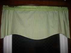 Lime Green White Striped Stripes Polka Dot fabric window topper curtain Valance #Handmade #Cottage
