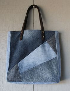 Denim Multi Patch Slouchy Tote with Leather by AllintheJeans