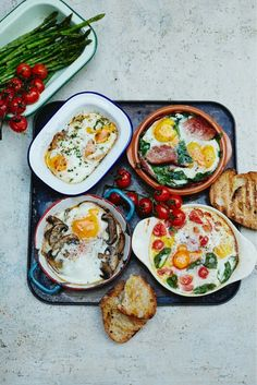 Many recipes for baked eggs by Jamie Oliver