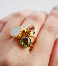 BOXING+DAY+SALE+Gemstone+Stacking+Rings++Set+of+Rings++by+OhKuol,+$124.00