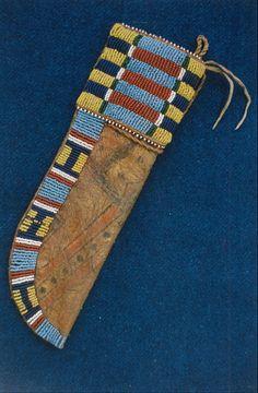 Cheyenne style sheath on buffalo rawhide, sinew beadwork. Mark miller