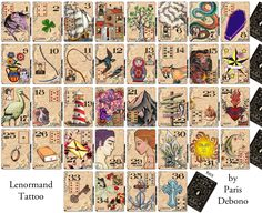 Lenormand Tattoo deck by Paris Debono