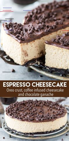 The most amazing espresso coffee cheesecake with an oreo crust and a layer of chocolate ganache! This cheesecake has real espresso in it for BIG coffee flavor! cheesecake espressocheesecake coffeec is - Coffee Cheesecake, Cheesecake Desserts, Köstliche Desserts, Delicious Desserts, Yummy Food, Real Cheesecake Recipe, Cheesecake With Oreo Crust, Plated Desserts, Espresso Cheesecake Recipe