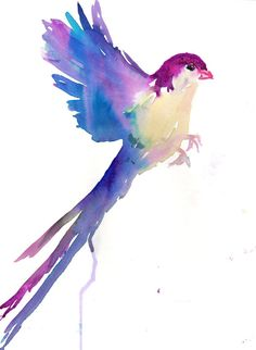 Print of Watercolor Painting Serene Bird 9 x 12 Original Watercolor Painting Pink Flying Blue Purple Turquoise