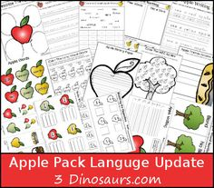 Free Apple Pack Update: Language Activities 50 pages of activities for ages 2 to 10 -  - repinned by @PediaStaff – Please Visit ht.ly/63sNtfor all our ped therapy, school psych, school nursing & special ed pins