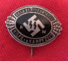 SS Supporting Members stick-pin Comm badge for patron members pre 1933 Issue no 772- white metal & enamel (pos silver) 25mm Ref 14- 16 more details @ www.ww2militaria.net