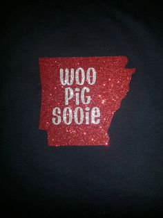 Arkansas Razorback WOO PIG SOOIE Glitter Adult Long Sleeved TShirt on Etsy, $26.00