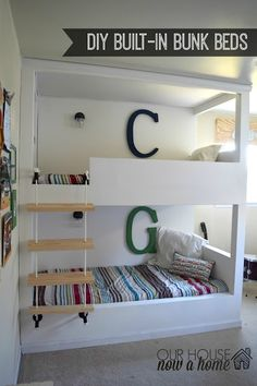 Boy bedroom idea with built in bunk beds. Childrens bedroom tour and ideas – Room By Room series week DIY, crafts low cost ways to decorate a girl or boy room. Simple decor to make a dream space for a little girl or boy Bunk Beds Built In, Modern Bunk Beds, Kids Bunk Beds, Boys Bedroom Ideas With Bunk Beds, Bunk Bed Plans, Boy Room, Kids Room, Girls Bedroom, Childrens Bedroom