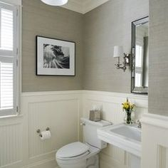 Powder room! I like the wainscoting and grey paper. This would be a great fit in our new home.