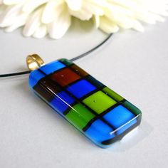 Clearance sale  Blue and Green Pendant Plaid door JechoryDesigns