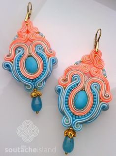 Neon peach & blue soutache earrings