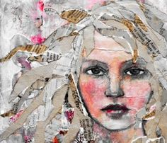 Mixture of painting and collage. Hair created using newspaper cuttings and face appears to be created using watercolour