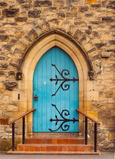 Church Door Photography Blue Wall Art Beautiful Entryway Old Architecture Print Welsh Wales UK Travel Art USD) by lostkatphotography Cool Doors, The Doors, Unique Doors, Windows And Doors, Front Doors, Portal, Porches, Architectural Prints, Architecture Old