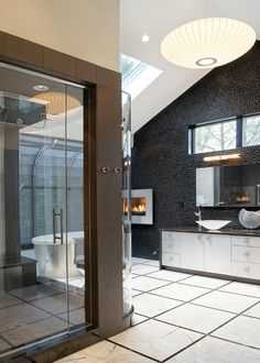 Contemporary Bathroom With Fireplace