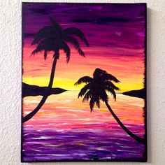 Bright Beach Sunset with Palm Tree Silhouettes by KateJPaint