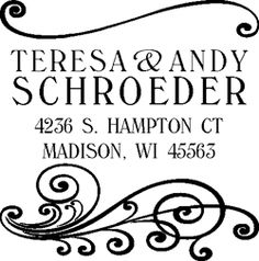 Square Schroeder self-inking rubber address stamp illustration