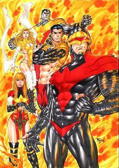 Phoenix Five by Fred Benes Mcu Marvel, Marvel Comics Art, Marvel Films, Marvel Heroes, X Men, Comic Book Artists, Comic Artist, Phoenix Marvel, Lady Sif