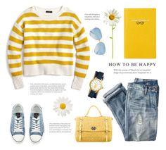 """Sunny Yellow"" by catchsomeraes on Polyvore featuring Miu Miu, J.Crew, Valentino, Tory Burch, Victoria Beckham, Smythson, yellow, stripes and distresseddenim"