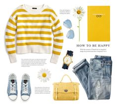 """""""Sunny Yellow"""" by catchsomeraes ❤ liked on Polyvore featuring Miu Miu, J.Crew, Valentino, Tory Burch, Victoria Beckham, Smythson, yellow, stripes and distresseddenim"""