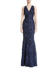 Sleeveless+Lace+Mermaid+Gown,+Midnight+by+Carmen+Marc+Valvo+at+Neiman+Marcus.