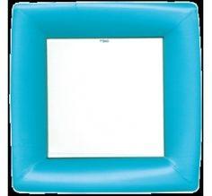 Plato grande de cartón azul