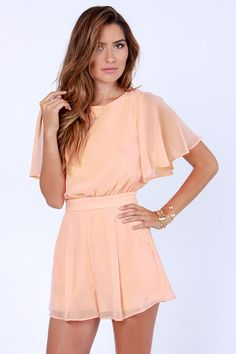 9a29f2deb045 Pretty Peach Romper - Short Sleeve Romper Summer Wedding Outfits