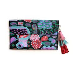 Leather Envelope Clutch Tassel Bag Large by BooandBooFactory