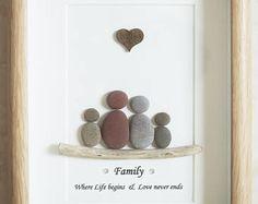 Pebble Art framed Picture- Family