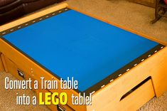 When your kids outgrow their train table this is an easy tutorial to turn it into a Lego table