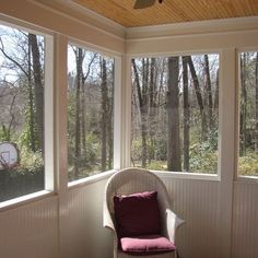 screened in porch with knee wall of beaded board & ceiling out of wider plank pine