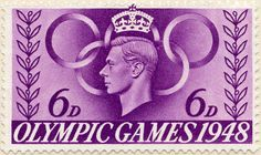 Olympic Games 1948 - Olympic Symbol. Great Britain stamp issued 29 July 1948. Designer: S. D. Scott.