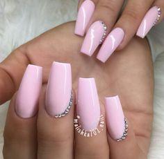 Tapered Square Nails. Long nails. Baby Pink Nails. Acrylic Nails.