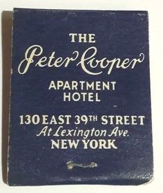 Peter Cooper Matchbook Front Strike Apartment Hotel NY 39th St Lexington 1950s