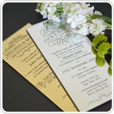 NEW!!! ACRYLIC WEDDING DL SIZE INVITES AND TABLE MENUS!