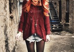 hippy grunge fashion alternative necklace cross denim shorts ginger hair love this outfit thigh gap thinspo