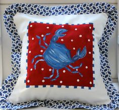 Hey, I found this really awesome Etsy listing at https://www.etsy.com/listing/77732475/beach-pillow-cover-blue-crab