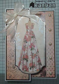 Foldback card using Kanban Shabby & Chic Kanban Cards, Craft Museum, Paper Art, Paper Crafts, Dress Card, Shaped Cards, Create And Craft, Heartfelt Creations, Diy Cards