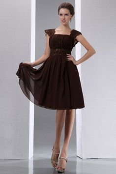 Brown A-Line V-Neck Homecoming Gown ted0968 - SILHOUETTE: A-Line; FABRIC: Chiffon; EMBELLISHMENTS: Applique , Beading , Ruched , Sequin; LENGTH: Knee Length - Price: 138.0000 - Link: http://www.theeveningdresses.com/brown-a-line-v-neck-homecoming-gown-ted0968.html