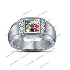0.54Ct Stylish Round NIne Color Nine Stone 925 Sterling Silver Navratna Ring 5 6 #br925 #NavratnaRing