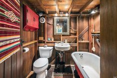 Here's a true tiny house on the Dutch Bill Creek in Sonoma County, California, that packs everything you need—and a whole lot more—into an impressive 324 square feet. Cabins For Sale, Tiny Houses For Sale, Cabins In The Woods, House In The Woods, Rustic Exterior, Thing 1, Tiny House Listings, Tiny House Bathroom, Tiny House Movement